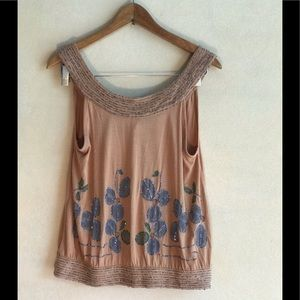 Deletta by Anthropology bead embellished tank